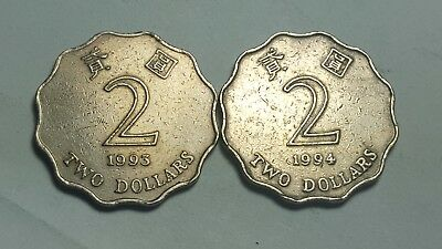 (2) DIFFERENT 2 DOLLAR COINS from HONG KONG (1993 & 1994)