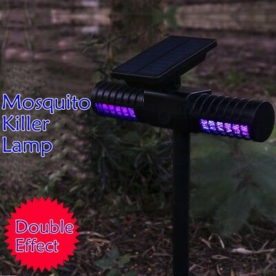 Mosquito Killer Lamp LED Solar Powered Fly Bug Insect Trap Catcher Outdoor Light