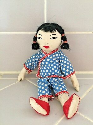 Vintage Chinese Original Cloth Doll Folk ART Handmade Young Girl
