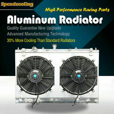 2208 2 Row Aluminum Radiator + Fan Shroud For Mitsubishi Mirage 97-02 L4 1.5 1.8