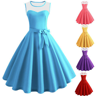Womens Vintage Mesh Rockabilly Ladies Evening Cocktail Prom Party Swing Dress AU