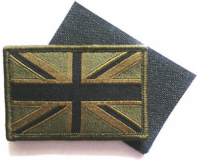 UNION JACK FLAG GB SUBDUED GREEN MILITARY PATCH BADGE SEW ON VELCRO TYPE QUALITY