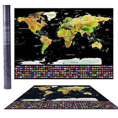 Travel Tracker Big Scrape Off World Map Poster with UK States and Country Flags