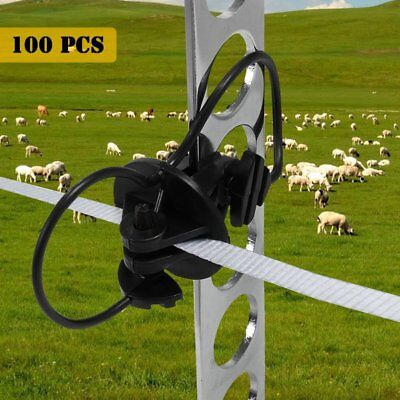 100 Electric Fence Insulator Pinlock Pin Lock Insulators Steel Post Star Picket#