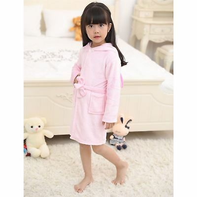 Girls Bathrobe 3D Animal Unicorn Baby Pink Dressing Gown Fleece Night Loungewear