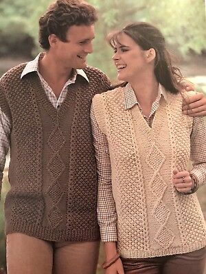569bf440b5b380 M23 - Knitting Pattern - Lady s   Men s Aran Style Slipover Sleeveless  Jumper