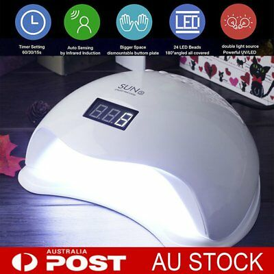 SUN5 48W LED UV Nail Lamp Light Gel Polish Dryer Manicure Art Curing AU Plug #