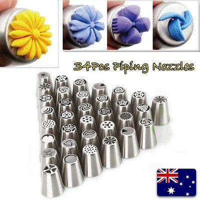 34Pcs Russian Icing Piping Nozzles Cake Decorating Cupcake Tips Pastry Tool Set#
