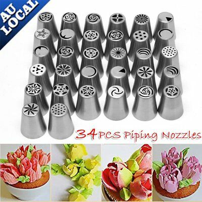 34Pcs Russian Icing Piping Nozzles Cake Decorating Cupcake Tips Pastry Tool Set.