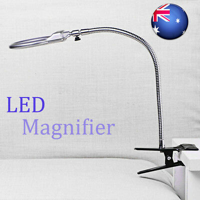 LED-illuminated Clip-on Desk Metal Hose Magnifier Magnifying Glass Loupe AUS BG