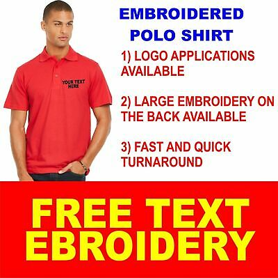 Personalised Embroidered Olympic Lightweight Polo Shirt Uniform Workwear Text