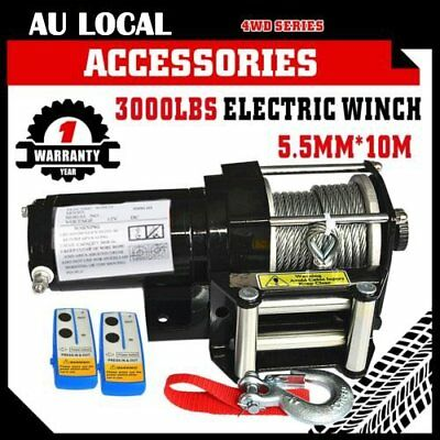 Wireless 3000LBS / 1360KG 12V Electric Steel Cable Winch Boat ATV 4WD Trailer OZ