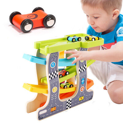 Kids Toddler Racing Track Car Toys Wooden Kids Wooden Slide Toy Indoor Outdoor