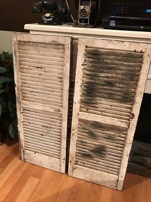 Pair Of Antique Farm House Barn Window Wood Shutters