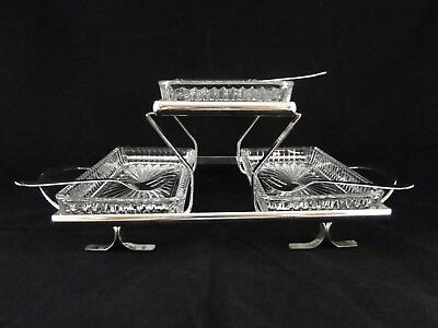 Sheffields Silverplate 3 Tiered Relish Tray w/ 3 Glass Inserts & 3 Forks.