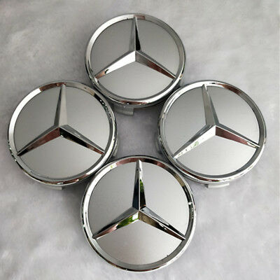 4 pcs, Wheel Emblem Center, Hub Caps Chrome Mirror, 75mm