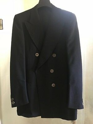 Herald Club vintage Mens Navy Wool lined Suit Double Breasted British Costume