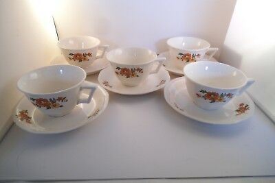 Vintage French Saxon China Sebring Set of 5 Cups & Saucers Red Flowers