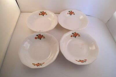 Vintage French Saxon China Sebring Set of 4 Berry Bowls Red Flowers