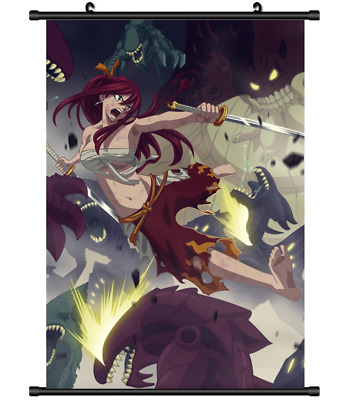 "Hot Japan Anime Fairy Tail Natsu Erza Home Decor Poster Wall Scroll 8""x12"" P38"