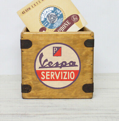 Vespa Record Box 7 Inch Single Retro Wooden Vinyl Crate Mod Lambretta The Jam
