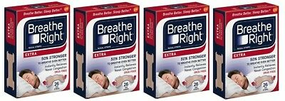 *104 Breathe Right Strips - (4) 26 ct RED Boxes - EXTRA STRONG TAN