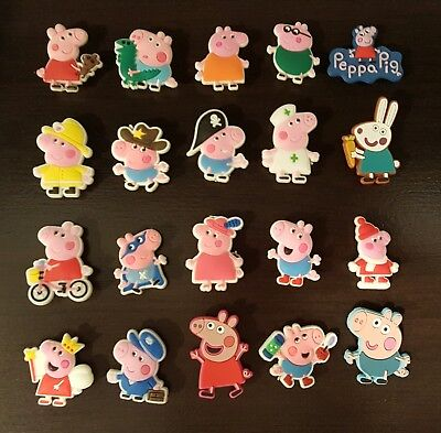 Peppa Pig Jibbitz Shoe Charms 20 PC set - party favor, crafts, cupcakes, jewelry