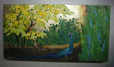 Tatsuo Ito Painting of Peacocks and Flowered Tree Grass on a Gold Leafed Board