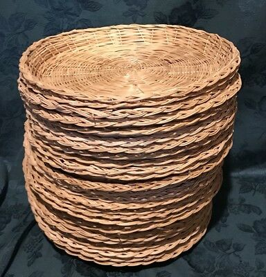 Vintage Lot 25 Wicker Rattan Bamboo Heavy Woven Paper Plate Holders  sc 1 st  PicClick & VINTAGE HEAVY Wicker Rattan Colored Paper Plate Holders Lot of 16 ...