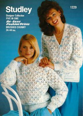 ST1229A LADIES CHUNKY LACY CARDIGAN   SWEATER KNITTING PATTERN 34-46