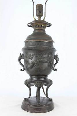 Antique 19th C Victorian Era Japanese Bronze Usubata Vase/Censor (Mounted as ...