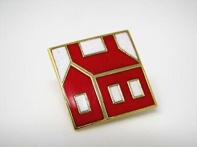 Vintage Collectible Pin: Red House Beautiful Enamel Design