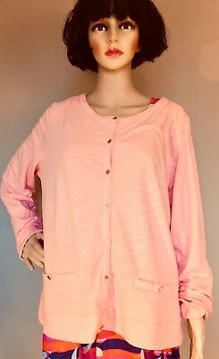 Land's End Size XL Brand New Coral Pink Vintage-look Cardigan With Gold Buttons