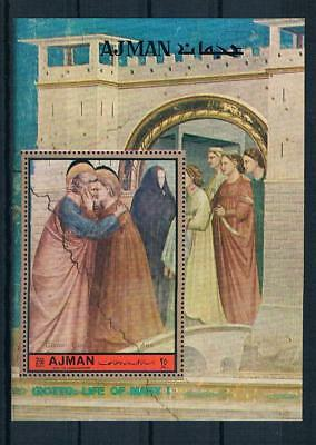 Ajman Adschman Religion Maria Gemälde von Giotto  Block imperforate xx