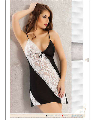 Women Chiffon and Lace Chemise with Matching Knickers    Babydoll