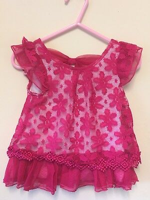 New Exstore Little Lass Baby Girls Saris Pink Lace Bow Top Ages 12-24 Months