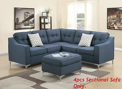 SECTIONAL SOFA L-SHAPED Corner Couch Navy Polyfiber Tufted Back ...