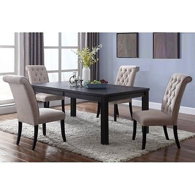 Modern Design Antique Espresso Beige Fabric 5pc Dining Set Table U0026 Chairs  ...