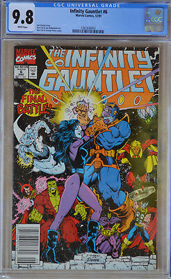 INFINITY GAUNTLET #6 (1991) CGC 9.8 (NM/MT) White Pages - RARE NEWSSTAND EDITION