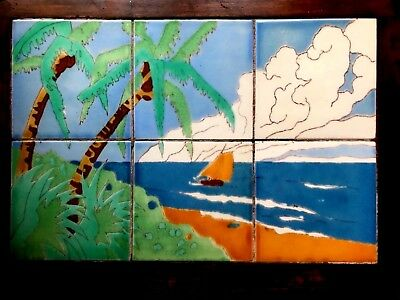 VINTAGE California Catalina Style Tropical Water & Boat Scene Tile Table