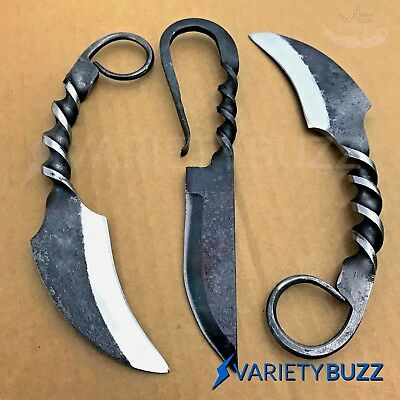 3 PC Hand Forged Hunting Knife Railroad Spike Karambit Carbon Steel Fixed Blade