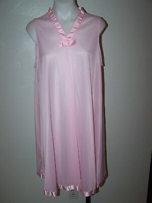 Vintage Henson Kickernick Pink Nylon Large Sweep Nightgown L Style 5428 Sissy