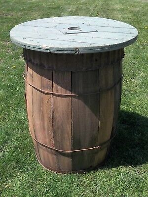 BARREL TABLE WOOD Night Stand Porch Table Bistro Table Old WOOD NAIL KEG