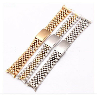 Hollow Curved End Solid Links Jubilee Bracelet Watch Band Strap 17/20mm