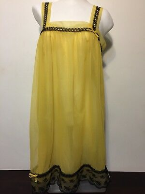 Vtg 1960s Yellow Babydoll Nightie Black Lace Trim Lingerie Double Chiffon Pin Up