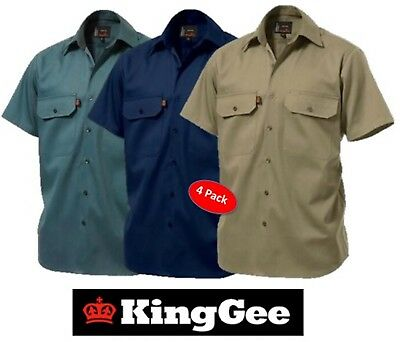 King Gee  - Pack Of 4 - Mens Open Front Short Sleeve Drill Work Shirt K04030