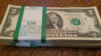 STAR $2 Bills all SEQUENTIAL Crisp, Uncirculated 2013 NOTES FRB New York