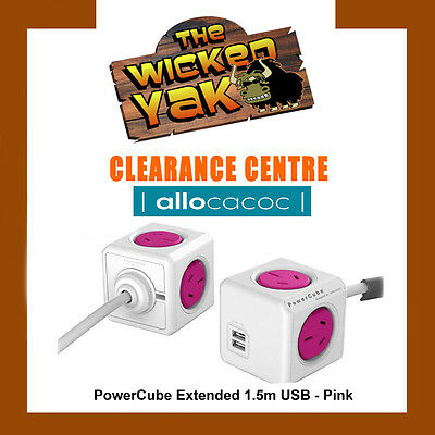 Allocacoc PowerCube 1.5m Extended USB Powerboard 4 Outlets+2 USB Ports 2.1A PINK