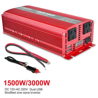 Power Inverter 3000W 12V - 240V Camping Boat Caravan with LED cable 3.1A USB RED