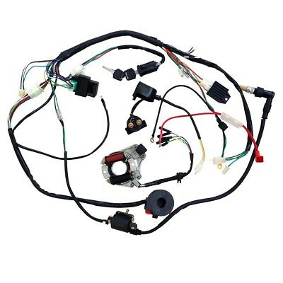 Motorcycle Ignition Key Coil Wiring Harness Kit For 50cc 110cc 125cc